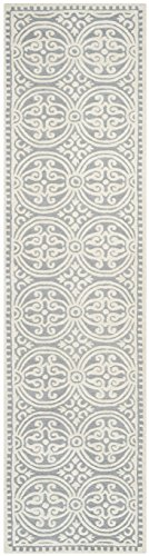 Wool Runner Gray - Safavieh Cambridge Collection CAM123D Handcrafted Moroccan Geometric Silver and Ivory Premium Wool Runner (2'6