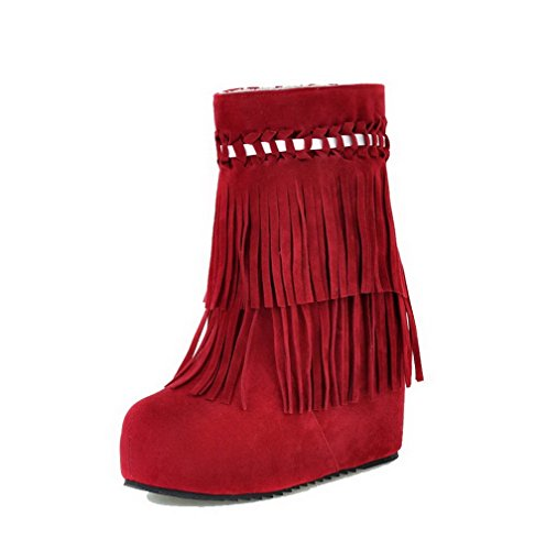 Agoolar Mujeres High-heels Solid Round Closed Toe Frosted Pull-on Botas Rojo
