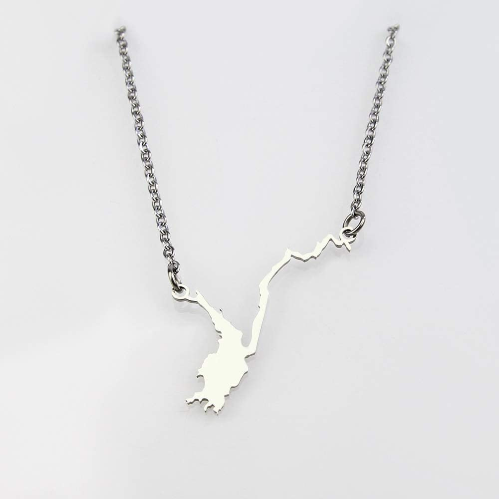 SWAOOS Stainless Steel Adirondack Lakes Map Pendant Necklace Charm Jewelry Statement Necklace for Woman and Men