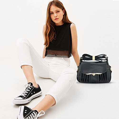 Crossbody Style Elegant Casual Black Pu Woman Shoulder Nicole amp;Doris Bag Bag Leather wqpFA