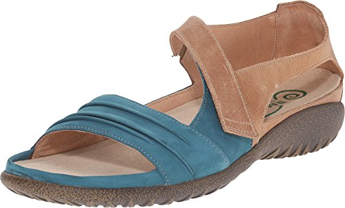 Naot Footwear Women's Papaki Teal Nubuck/Latte Brown Leather Sandal 39 (US Women's 8) M
