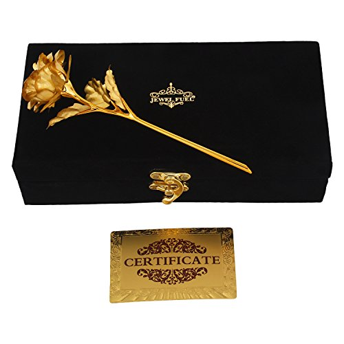 JEWEL FUEL Valentine Special Rose in 24k Gold (25Cm) with Exclusive Velvet Gift Box