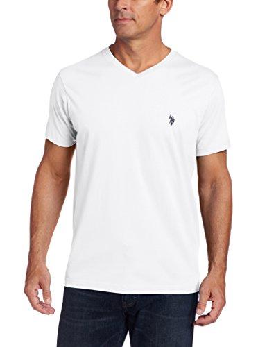 U.S. Polo Assn. Men's V-Neck Short Sleeve T-Shirt, White, Large