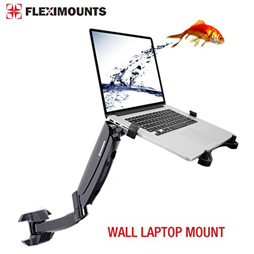 FLEXIMOUNTS M10 Laptop Wall Mount 2 in 1 LCD arm for Most 11-17.3 inch Laptop, Notebook Tray Included or 10-24 inch Computer LCDs,Swing Gas Spring Monitor arm for Dental Clinic (Best 11 13 Inch Laptop)