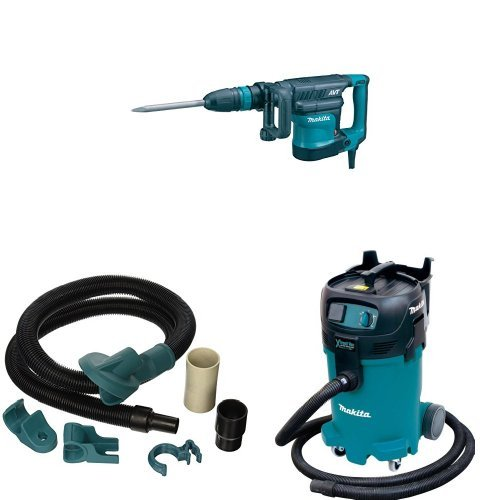 Makita HM1111C 17 lb. AVT Demolition Hammer, accepts SDS-MAX bits, 196571-4 Dust Extraction Attachment, VC4710 12 Gallon Xtract Vac Wet/Dry Dust Extractor/Vacuum