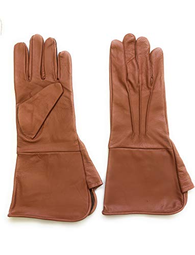MEN'S MEDIEVAL RENAISSANCE COSTUME COSPLAY SWORDSMAN STEAMPUNK UNLINED LEATHER GLOVES GAUNTLETS (SMALL, TAN)