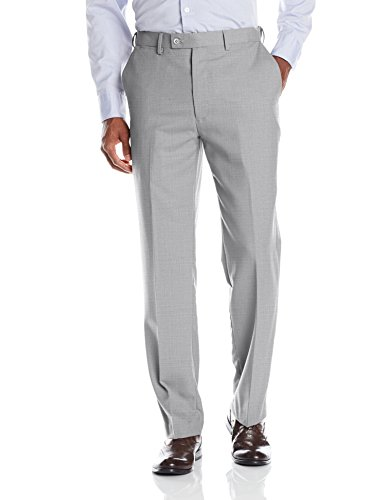 Louis Raphael Men's Luxe 100% Wool Flat Front Dress Pant With Hidden extension Waist Band, Light Grey, 38W x (Grey Wool Dress Pant)