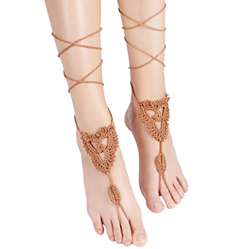 Sealike Handmade Crochet Barefoot Sandals Wedding Beach Jewelry Shoes Footless Sandles Foot Jewelry Summer Shoes with Stylus Khaki