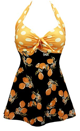 COCOSHIP Orange & Black Lemon Fruit Yellow Polka Dot Vintage Sailor Pin Up Swimsuit One Piece Skirtini Cover Up Cruise Beachwear M