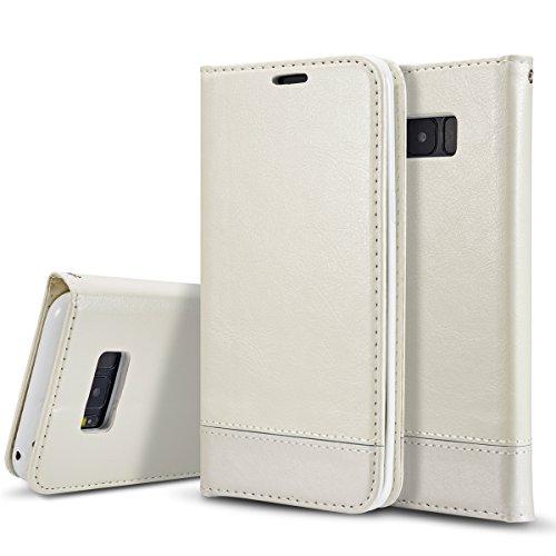 Samsung Galaxy S9 Funda, Moonmini Lujo Libro de PU Cuero Leather Suave TPU Silicona Flip Folio Caja Ranuras para Tarjetas y Billetera con Cierre Magnético y Lanyard Carcasa Protectora para Samsung Gal Blanco