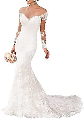 88a3861f269 Wedding Dresses Long Sleeve Lace Applique Sweep Train White Mermaid Wedding  Gowns