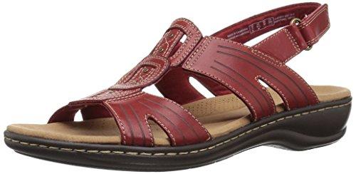 CLARKS Womens Leisa Vine Platform, Red Leather, 9.5 Medium US
