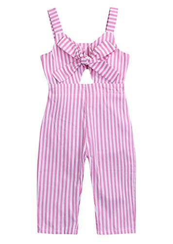 YOUNGER TREE Kids Toddler Baby Girls Summer Romper Outfit Stripe Overall Bodysuit Jumpsuit Cropped Trousers Clothes Pink]()