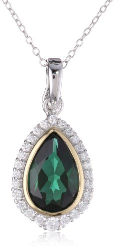 18k Yellow Gold Plated Sterling Silver Two-Tone Created Green Quartz and Simulated Diamond Teardrop Pendant Necklace, 18""