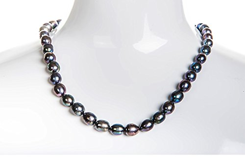 (Single Strand Rice Shape Peacock Blue Freshwater Pearl Necklace 8mmx10mm 20