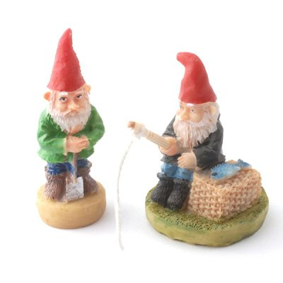 Amazing SET OF 2 FAIRY GARDEN MINIATURE GNOMES ONE IS FISHING AND THE OTHER DIGGING
