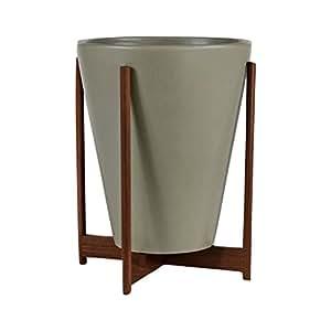 Modernica cerámica Gran embudo maceta | Pebble/madera soporte