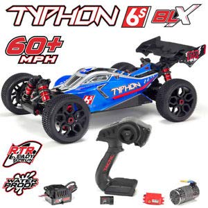 (ARRMA TYPHON 6S BLX Brushless 4WD RC Buggy RTR (Lipo Battery Required) with 2.4GHz Radio | 1:8 Scale (Blue/Silver))