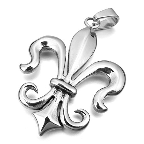 INBLUE Men's Stainless Steel Pendant Necklace Silver Tone Knight Fleur De Lis -With 23 Inch Chain (Fleur De Lis Chain Pendant)