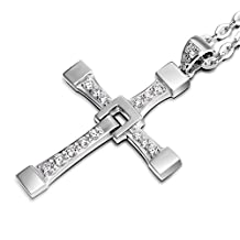 """Wo-dreams Titanium Steel 1:1 Size Fast and Furious Dominic Toretto's Cross Pendant Necklace,24"""""""
