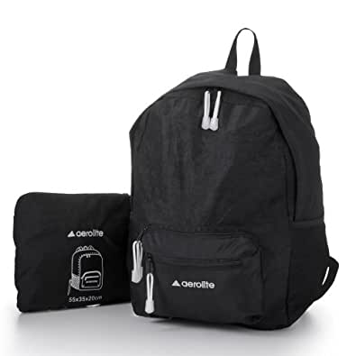 "Aerolite ® Dimensiones interiores Ligero Negro plegable 16 ""/ 21"" Equipaje Bolsa de Viaje / Mochila (16 ""40cmx30cmx20cm, 24L, 0.25kg) / (21"" x 55cm 35cm x 20cm, 44L 0,30 kg,) (16"", negro)"