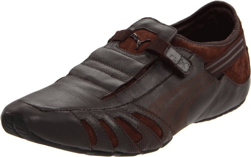 PUMA Men's Vedano Leather Slip-On Shoe,Coffee/Coffee/Golden Poppy,9.5US/ D US