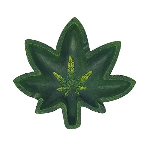 PolyPlus Pot Leaf Shape Cigarette Ashtray for Outdoors and Indoors Use - Modern Home Decor Tabletop Ash tray for Smokers - Nice Gift for Men and - Leaf Pot Ashtray