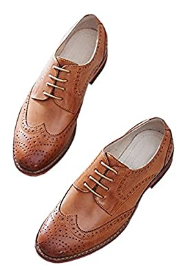U-lite Women's Perforated Lace-up Wingtip Pure Color Leather Flat Oxfords Vintage Oxford Shoes