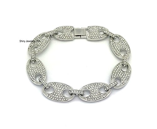 Shiny Jewelers USA Mens Iced Out Hip Hop Silver Finish Mariner Link Choker Necklace Bracelet (Iced Silver Metal)