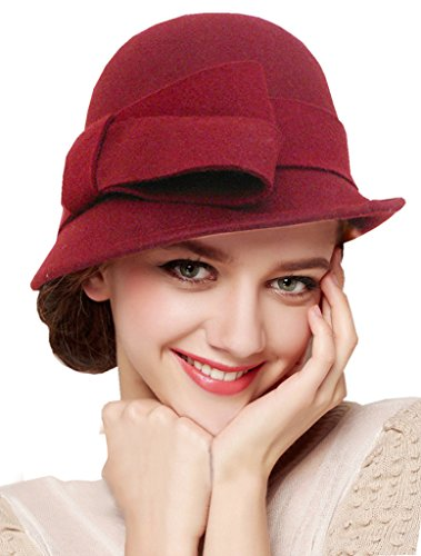 Red Hat Large Brim Wool (Bellady Women Solid Color Winter Hat Wool Cloche Bucket with Bow Accent,Dark Red)