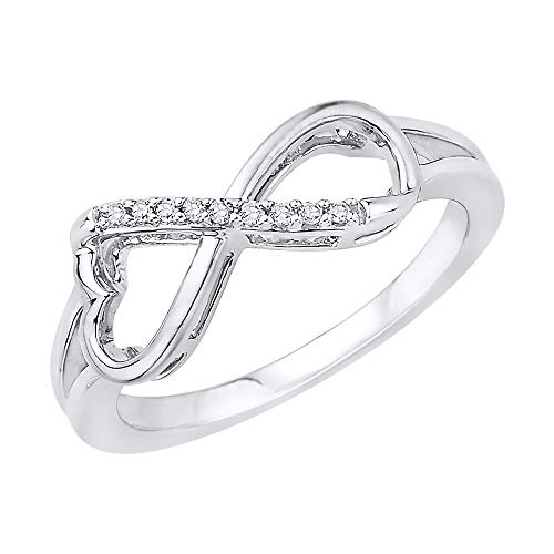 Heart Shaped Infinity Diamond Ring in Sterling Silver (1/20 cttw) (Size-6.5)