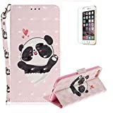 Funyye Folio Wallet Case for iPhone 7/8,Stylish 3D Cute Panda Fantasy Painted Design Strap Magnetic Flip Case with Stand Credit Card Holder Slots Soft Silicone PU Leather Case for iPhone 7/8 4.7 inch,Full Body Shockproof Non Slip Smart Durable Shell Protective Case with Screen Protector