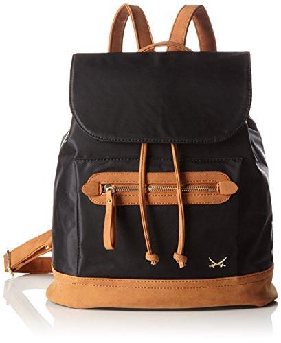 Sansibar Damen Rucksackhandtaschen, 30x32x15 cm Schwarz (Black)