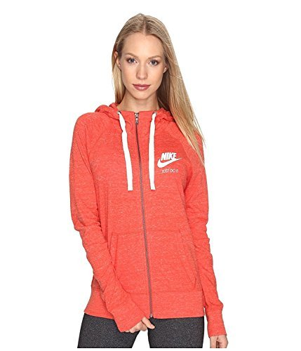 Nike Women's Gym Vintage Full Zip Hoodie (Medium, Max Orange/Sail)