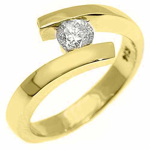 14k Yellow Gold .50 Carats Solitaire Brilliant Round Diamond Tension - Tension Ring Diamond Brilliant Round