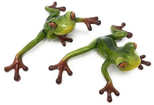 (Green Tree Resin Pair of Tree Frogs Figurines, Indoor Outdoor Decor,)