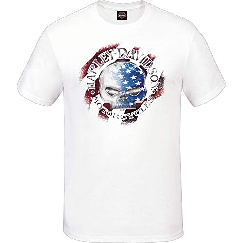 Harley-Davidson Military - Men's White Patriotic Graphic Tee - Made in USA - USAG Grafenwohr | G Star XL