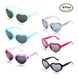 6 Neon Colors Heart Shape Party Favors Sunglasses, Multi Packs (6-Pack Mix)