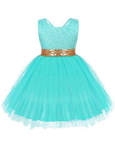 Baby Girls Embroidered Sequined Flower Pleated Princess Wedding Party Pageant Birthday Tutu Dress Turquoise (Turquoise Floral Skirt)