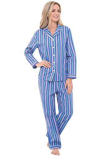 Alexander Del Rossa Womens Cotton Pajamas, Long Woven PJ Set, Large Blue and Green Striped (A0517N47LG) (Top Pajama Woven Stripe)