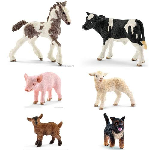 - Schleich First Farm Animals Petting Zoo 6 Cute Small Animal Babies Set Includes Holstein Calf, Foal, Lamb, Puppy, Goat Kid & Piglet Bagged Together Nicely Read to Give