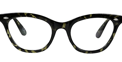 AStyles Vintage Inspired Half Tinted Frame Clear Lens Wayfarer Cat Eye Glasses (Leopard, - Glass Styles Frame Eye