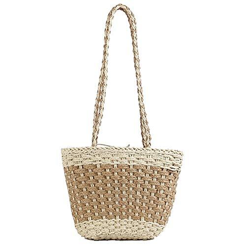 Aa-Bohemian Beach Bag Colorblock One Sholder Handmade Straw Bag (Light Yellow) ()