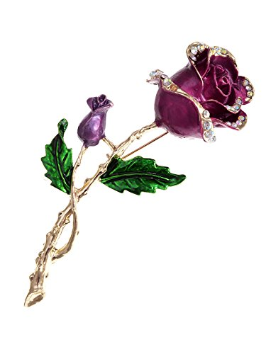 (Alilang Golden Tone Purple Violet Green Romantic Rose Flower Stem Leaf Brooch Pin)