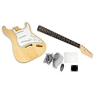 Unfinished Strat Electric Guitar Kit - You Build The Guitar, Basswood Body With Sanding Sealer, Includes All Parts And Instructions To Build A Complete Playable Guitar - Pyle PGEKT18
