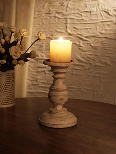 Ardour Distressed White Wooden Pillar Candle Holder for Home Decor Fireplace/Wedding/Table Top Accessories - 8 Inches