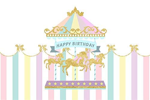 AOFOTO 7x5ft Polyester Baby Girl Happy Birthday Backdrop