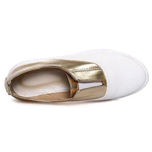 Summerwhisper Mujeres Trendy Color Block Elastic Low Top Loafers Flat Slip On Sneakers Gold