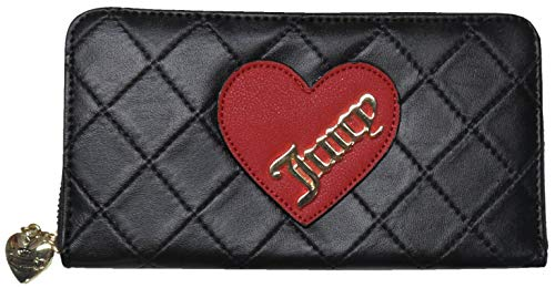 Juicy Couture Cross My Heart Zip Around Wallet Black (Juicy Couture Wallets For Women)