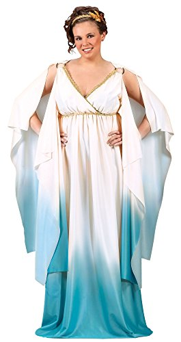 Fun World Plus Size Greek Goddess Costume, Crème/Light Blue, 16W-24W -